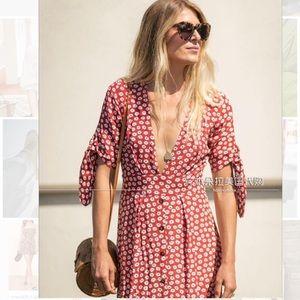 Faithfull the Brand v-neck floral print tea dress
